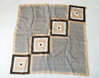 Vintage Mod Geo Squares and Stripes Print Scarf / Brown, Beige, White