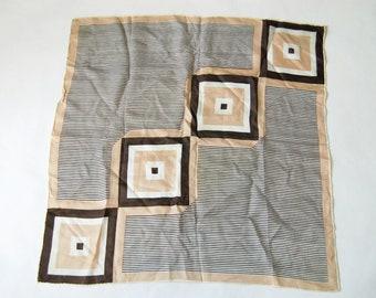 Vintage Mod Geo Squares and Stripes Print Scarf / Brown, Beige, White