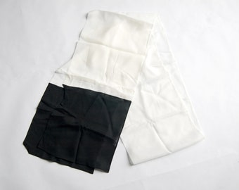 "Vintage 1970s Extra Long Black & White Colorblock Scarf (90"" x 10.25"")"