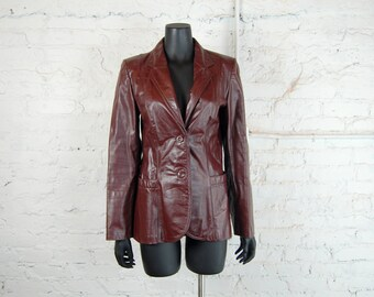 Vintage 1970s Classic Directions Women's Mahogany Brown / Burgundy Leather Blazer / Jacket