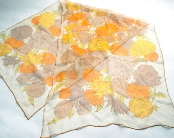 Vintage 1960 Sheer Chiffon Rectangular Floral Scarf / Beige, Orange, Taupe, Yellow, Green