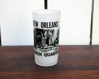 Vintage 1950s New Orleans French Quarter Frosted Glass / Antoine's Restaurant / Green and Black // NOLA