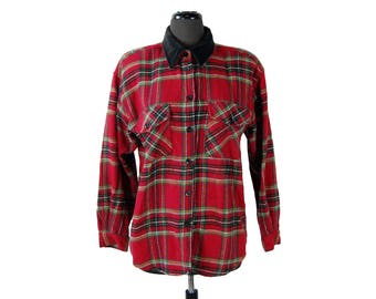 Vintage 1980s Capacity Stewart Plaid Flannel Shirt / Jacket with Black Velour Collar (Size Small)