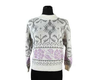 Vintage 1980s Acrylic Jonathan Cass Lilac Purple / Gray / White Print Sweater (Large) / Floral