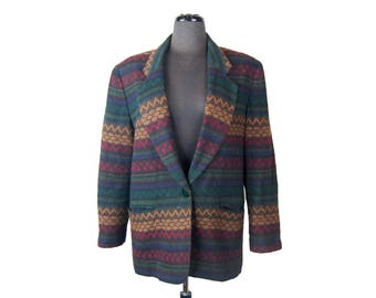 Vintage 1980s Requirements Indian Blanket / Southwest Blazer / Jacket (Size 14)