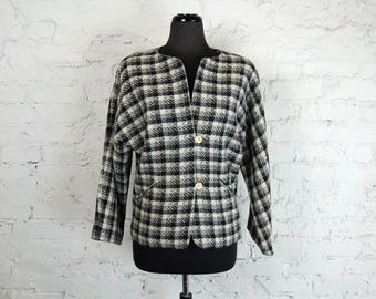 Vintage 1980s Jason Roberts Black & White Wool Checked / Plaid Collarless Jacket / Blazer w/ Dolman Sleeves (Small)