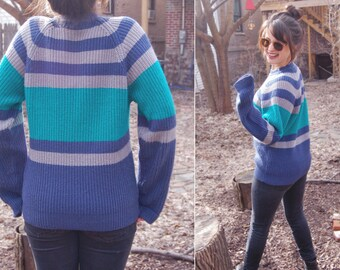 Vintage 1990s Super Soft Knit Pullover Unisex Striped Sweater / Blue, Green, Gray