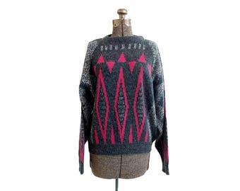 Vintage 1980s White Oak Acrylic Geometric Design Crewneck Pullover Slouchy Sweater (M)