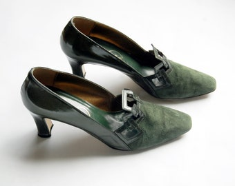 Vintage 1980s Pere Wuci Green Pumps / Suede and Patent Leather with Square Cutouts and Pointed Square Toe / Size 7.5M