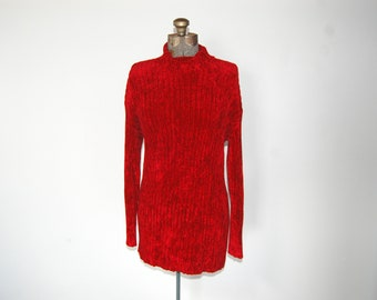 Vintage 1990s Express Tricot Red Chenille Oversized Slouchy Turtleneck Sweater (S)