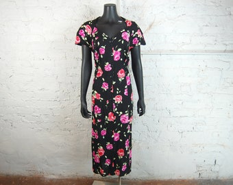 Vintage 1990s Scarlett M Strappy Back Floral Button Front Rayon Dress w/ Capped Sleeves and Attached Ties (20W) / Black, Pink, Green, Red