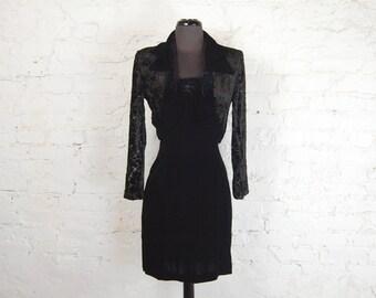 Vintage 1990s Joseph Ribkoff Black Velour 2-Piece Sleeveless Mini Dress and Bolero Jacket (Size 6)