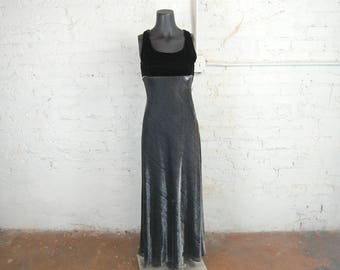 Vintage 1980s Sleeveless Black Velvet and Sparkly Metallic Silver Maxi Dress / Jump Apparel Co.