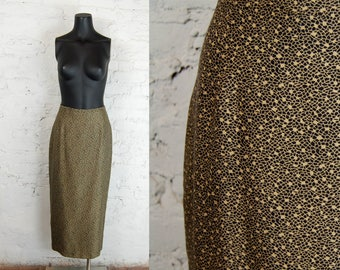 Vintage 1980s Black and Gold Abstract Geo Print Silk Midi Skirt / Spitalnick & Co. Size 6 / Fitted Skirt