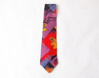 Vintage 1980s Abstract Retro Print Tie / Purple, Red, Blue, Gold, Black Flower Brushstrokes Pattern Necktie