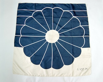 Vintage Lanvin Paris Designer Scarf / Blue and White Mod Flower Print / French Silk Scarf
