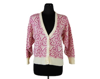 Vintage 1980s Garland Pink & Ivory Abstract Pattern Cardigan Sweater