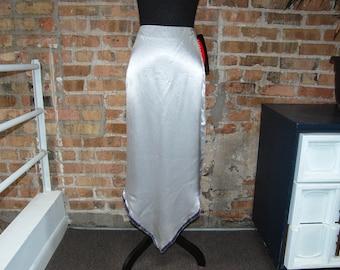 Vintage 1980s Exact Change Silver / Gray Satin Handkerchief Hem Maxi Skirt w/ Velvet Trim (9) NWT