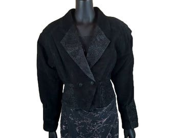 Vintage 1980s Black Wilsons Suede Leather Jacket w/ Abstract Floral Embellishments