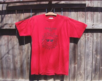 Vintage 1990s Red 8 Bit Graphic Summer Study Plus T Shirt