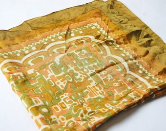 Vintage 1960s Chartreuse and Olive Green, Terra Cotta Orange and White Abstract Print / Tribal Pattern Square Scarf