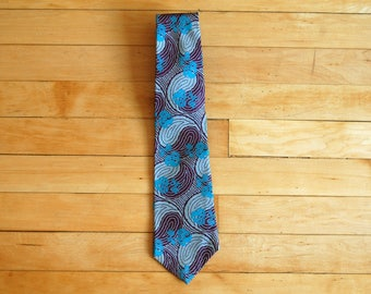 Vintage 1980s Claiborne Purple Teal Gray Swirly Floral Abstract Tie / Silk Necktie