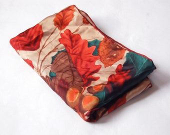 Vintage Autumn Oak Tree Leaves & Acorns / Fall Colored Leaves / Red, Green, Brown Long Silk Scarf / Thanksgiving Scarf