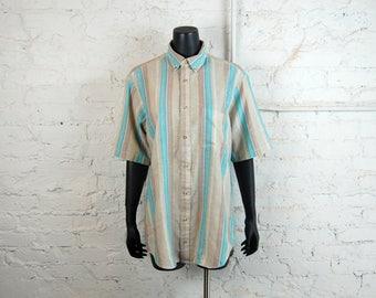 Vintage 1980s Oakton Teal Blue & Beige Striped Short Sleeve Oxford / Button Down Shirt (X - Tall)