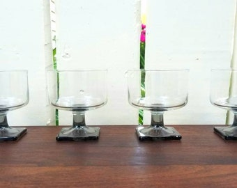 Vintage 1960s 1970s MCM Coupes / Smoke Gray Square Pedestal Glasses (Set of 4) / Federal Nordic Midnight Sherbet