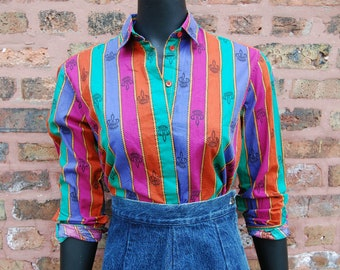 Vintage 1980s John Henry Colorful Jewel Toned Striped Cotton Blouse / Colorful Top (Size 6)