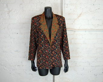 Vintage 1980s Impressions of California Lightweight Black Floral Blazer / Jacket