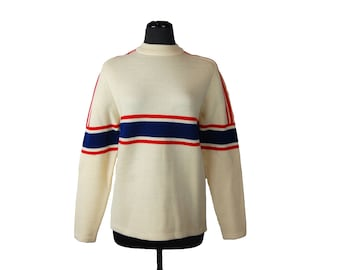Vintage 1960s White Stag Wool Cream Off-White Sweater with Red and Blue Stripes