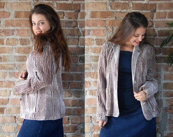 Vintage 1990s Taupe Chenille 'Wood Grain' Blazer Sweater / Beige Brown Sweater Jacket Cardigan