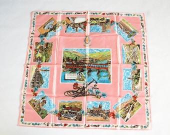 Vintage Light Pink Italy Souvenir Scarf / Italian Postcards / Stemma di Bassano