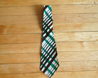 Vintage 1950s Brown Green White Criss Cross Diagonally Striped Tie / Botany Necktie