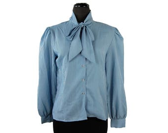Vintage 80s Shirtstop Blue Striped Pussy Bow Tie Collar Secretary Blouse (Size 12)