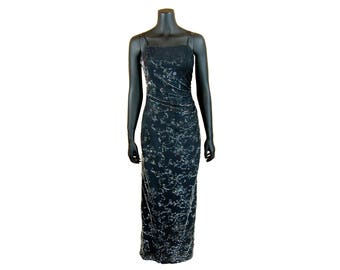 Vintage 1990s Betsy & Adam by Jaslene Black and Silver Sparkly Spaghetti Strap Maxi Dress (Size 10)