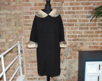 Vintage 1960s Evans Black Long Winter Coat w/ Ivory & Brown Fur Collar and Cuffs