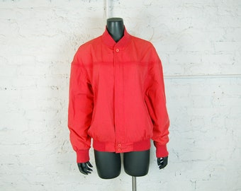 Vintage 1980s Peter England Red Cotton Zip Front Lined Windbreaker Jacket (L)