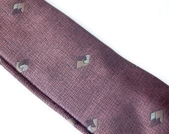 Vintage 1990s Mauve London Fog Tie / Diamond Print Dusty Pink Tie