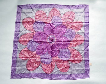 Vintage 1970s Glentex Purple, Pink Mosaic Flower Print Square Scarf