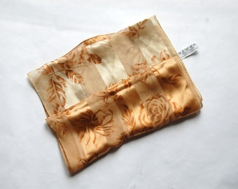Vintage 1980s Liz Claiborne Brown, Beige Striped Floral Rectangular Silk Scarf / Semi-Sheer