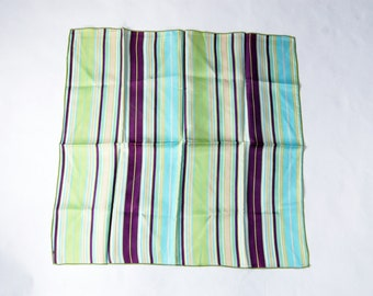 Vintage 1970s Neon Green, Purple, Baby Blue Striped Polyester Square Scarf