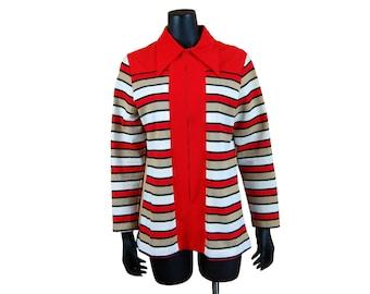 Vintage 1960s Women's NPS Fashions Red / Beige / White / Black Striped Zip Smock / Shirt / Tunic