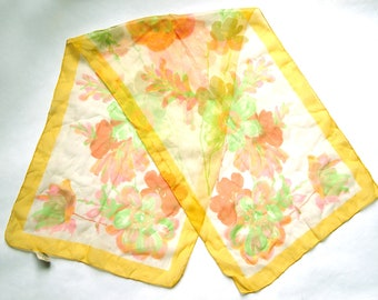 Vintage 1960s Pink, Green, Orange, Yellow, White Floral Nylon / Poly Blend Rectangular Scarf