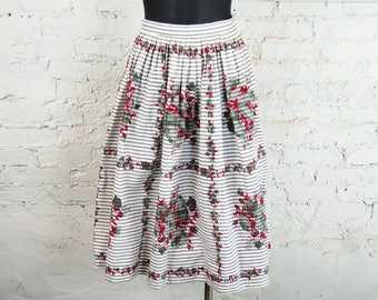 Vintage 1950s Full Pleated Cotton Midi Skirt / Red and Green Floral Print on Black and White Ticking (Size XS)