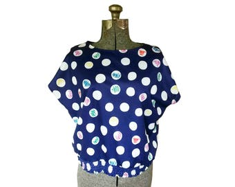 Vintage 1980s Blair Navy Top w/ Polka Dots and Squiggles / Elastic Waistband /Capped Sleeves (Size 14)