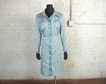 Vintage 1970s Bran-Nu of Miami Muted Blue and White Multi-Pattern Button Down Belted Dress / Long Sleeved Midi Dress