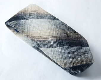 Vintage 1970s Arturo Phillipe Plaid Wool Flannel Tie / Black, Brown, Blue, Gray, White Retro Necktie