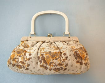 Vintage 1950s Brocade and Bakelite Handbag / Purse / Beige, Yellow, Brown House and Tree Print